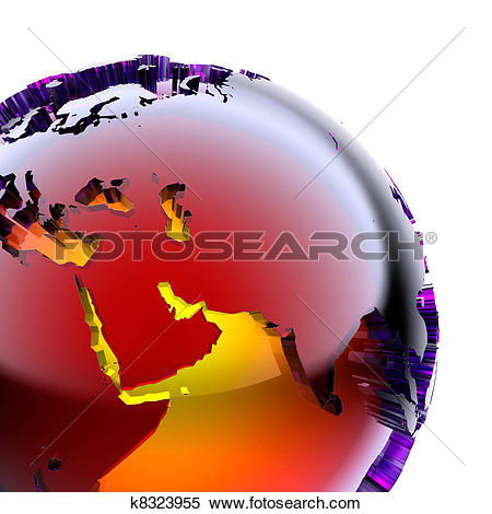 Stock Illustration of Globe of colored glass with an inner warm.