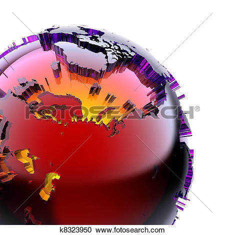 Stock Illustrations of Globe of colored glass with an inner warm.