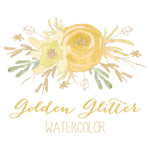 In peaches and corals. Gold Glitter Watercolor Flower Clipart.