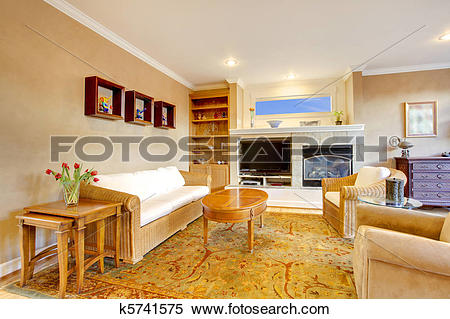 Stock Image of Large living room with warm gold color k5741575.