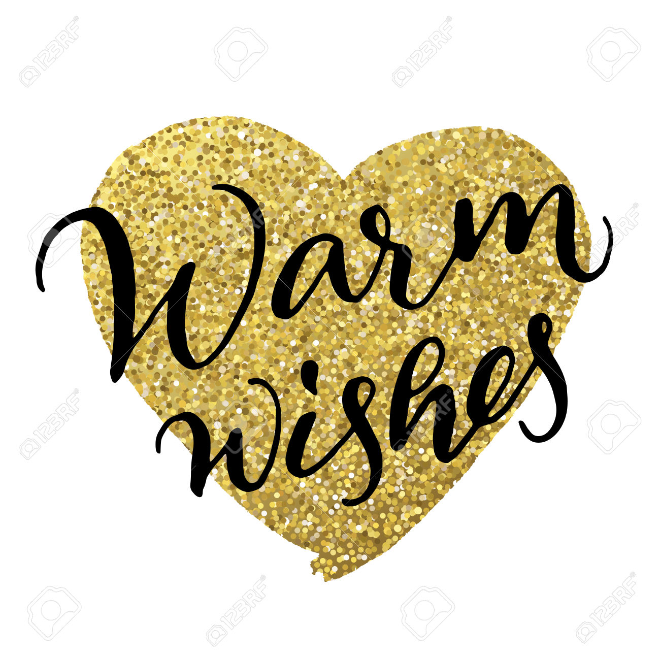 Hand Ink Calligraphy 'Warm Wishes' On Gold Heart. Modern.