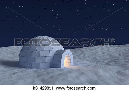 Clipart of Igloo icehouse with warm light inside under the sky.