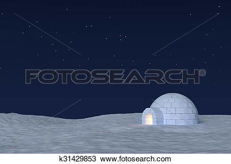 Drawing of Igloo icehouse with warm light inside under sky with.