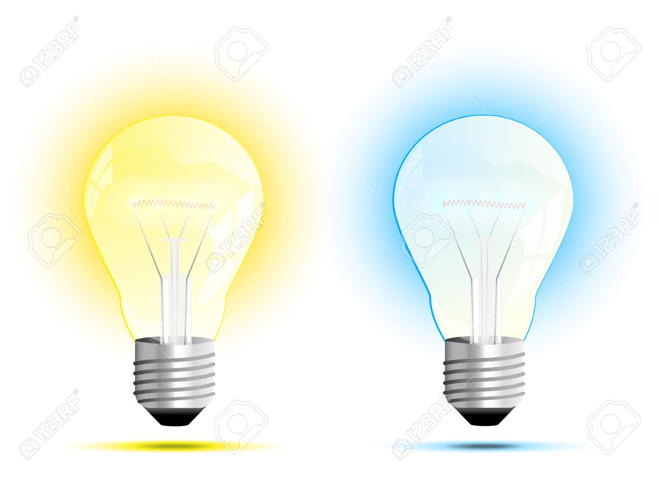 Incandescent Light Bulb Warm White And Cool White Light Vector.