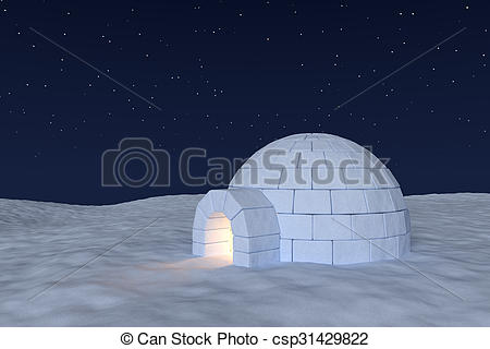 Clip Art of Igloo icehouse with warm light inside under night sky.
