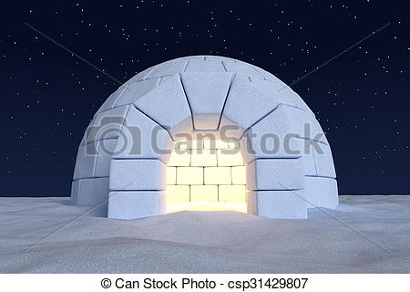 Stock Illustration of Igloo icehouse with warm light inside under.