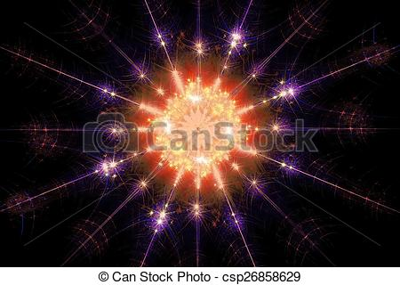 Clip Art of Shining star fractal polygonal shrouded sparkling warm.