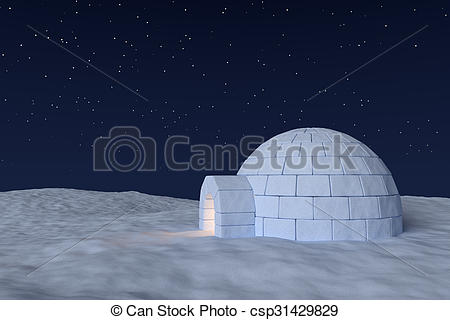 Clip Art of Igloo icehouse with warm light inside under sky with.