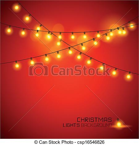 Vector Illustration of Warm Glowing Christmas Lights. Vector.