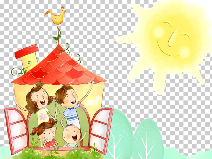 Family Happiness Cartoon Love , Warm sunshine PNG clipart.