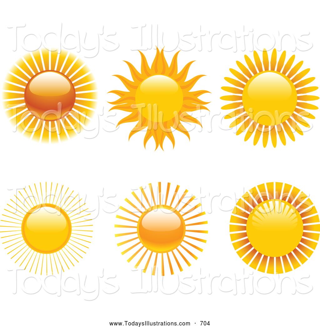 Clipart of a Collection of 6 Hot Warm Suns with Rays over a.