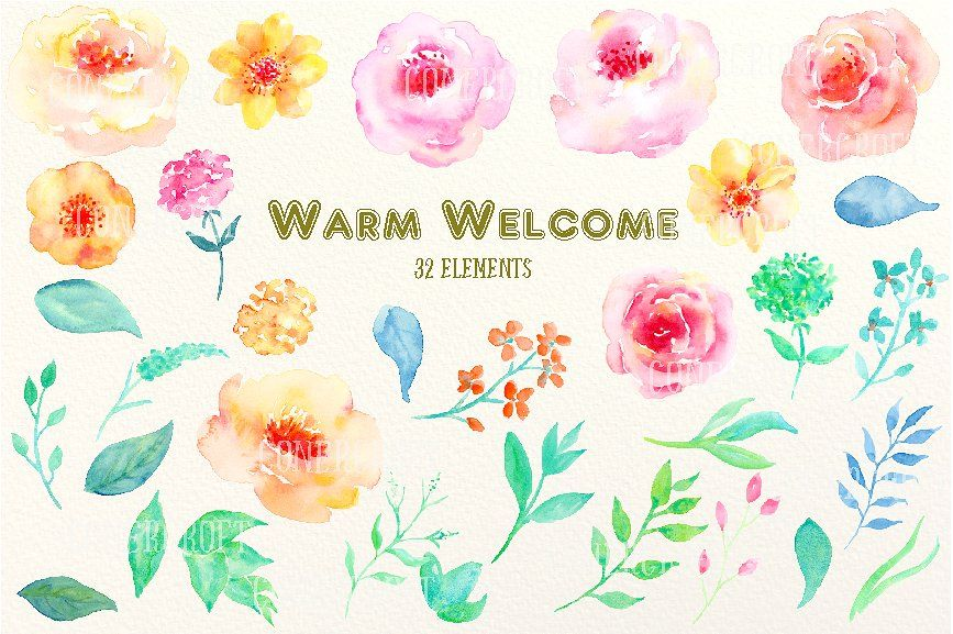 Watercolor Clipart Warm Welcome #Clipart#Watercolor.