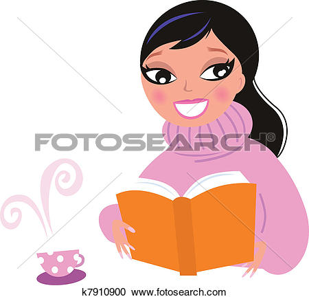 Clipart of Cute woman in warm pullower drinking coffee while.