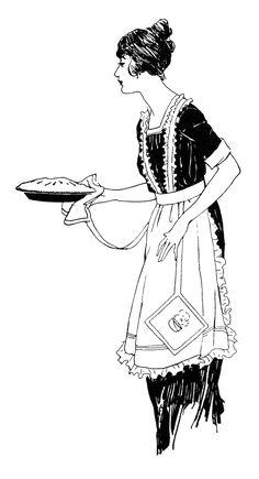 woman cooking clip art, Edwardian girl cooking, vintage kitchen.