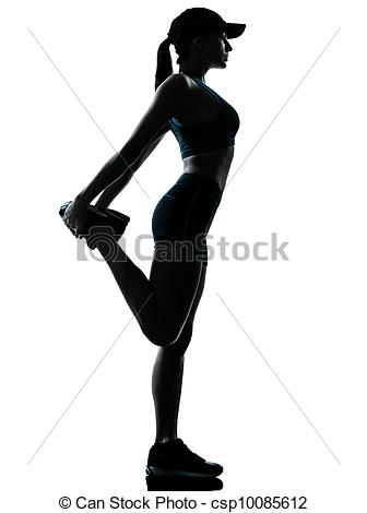 Stock Photography of woman runner jogger stretching warm up.