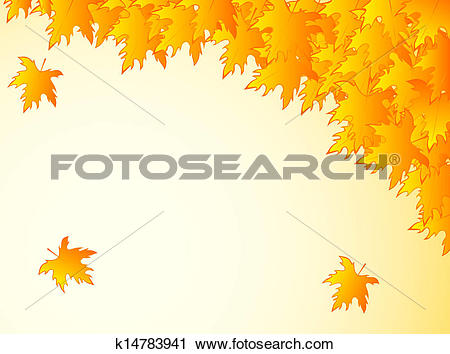 Clipart of background in warm colors with yellow maple leaves.