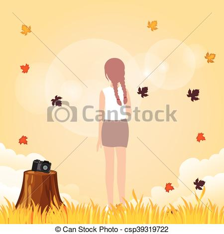 Vector Illustration of woman leve her camera to enjoy weather fall.