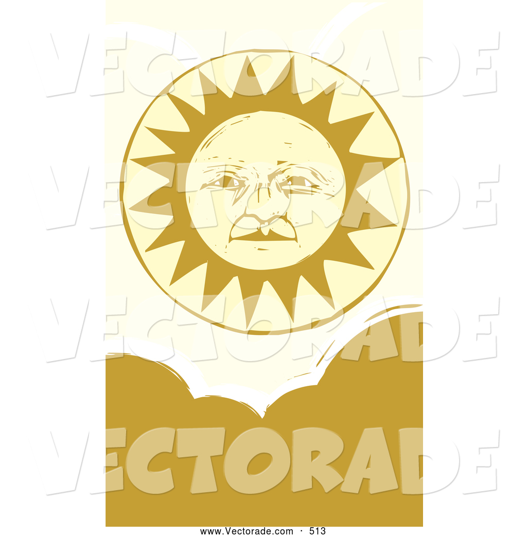 Vector of a Pleasant Warm Yellow Sun Face Above Clouds by.
