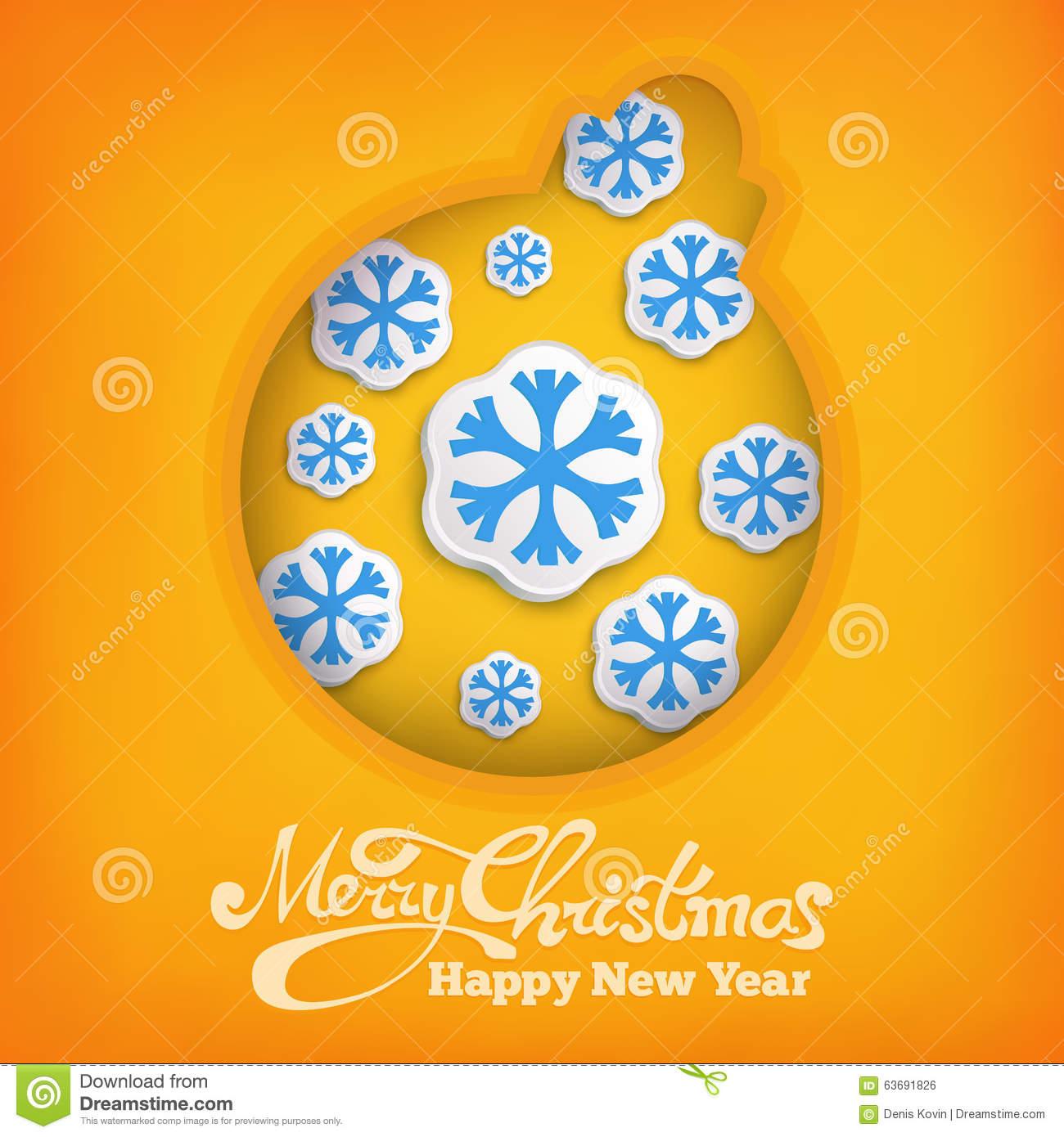 Christmas Decoration Ball Siymbol With Snowflakes On Warm Yellow.