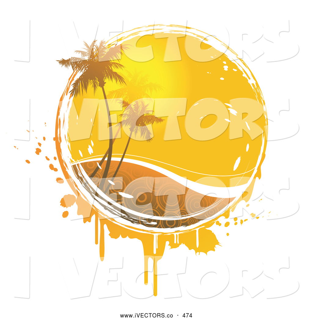 Vector Graphic of a Palm Trees in Front of the Warm Yellow Summer.