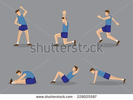 Warm up head and neck exercise clipart.