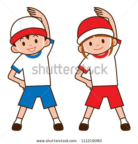 Warm up exercises for kids clipart.