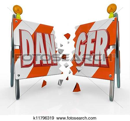 Stock Illustration of Danger Word Barricade Breaking Through.