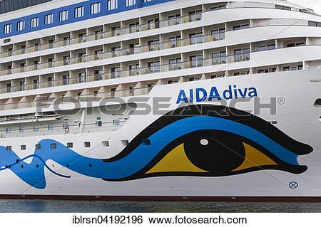 Stock Images of AIDA logo on the AIDAdiva cruise ship, Warnemunde.