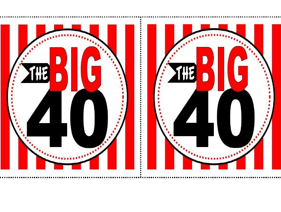 40th Birthday Free Printable.