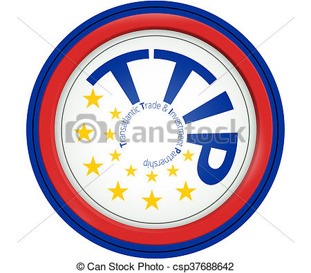 Drawing of TTIP 13 stars Europe color round icon and red warning.