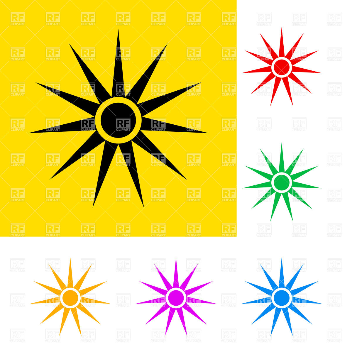 Warning sign of optical radiation with color variations Vector.