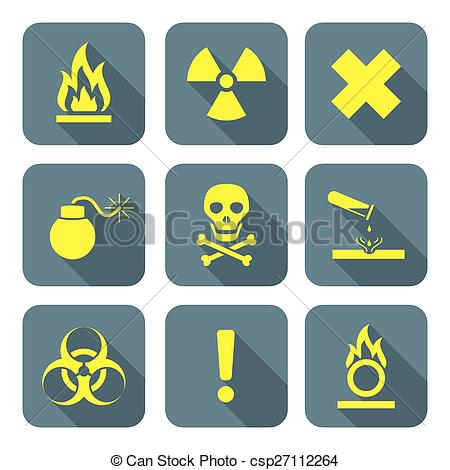 Clip Art Vector of bright yellow color flat style hazardous waste.
