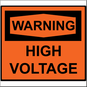 Clip Art: Electricity: Warning High Voltage Sign Color.