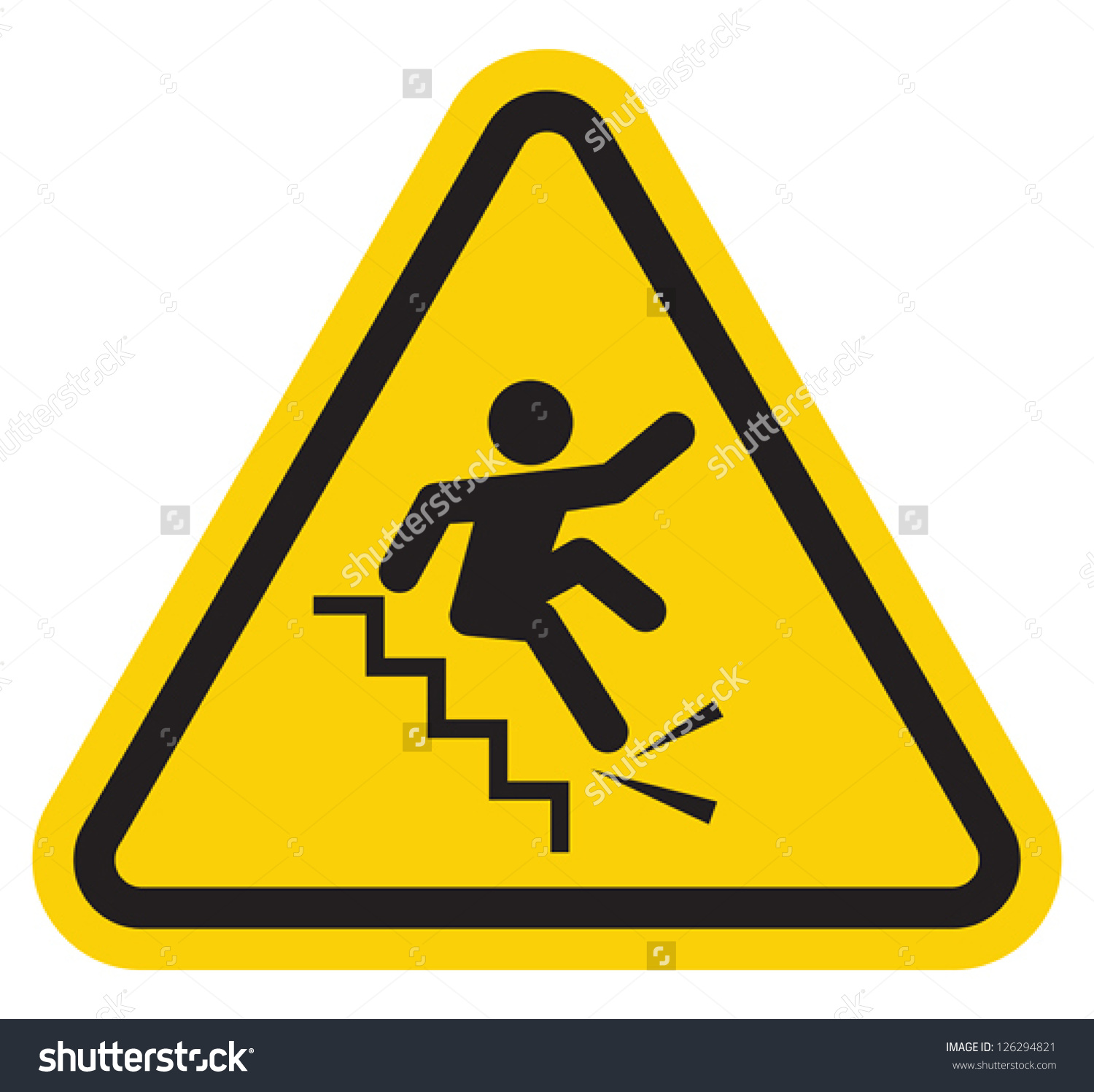 Warning Falling Off Stairs Sign Stock Vector 126294821.