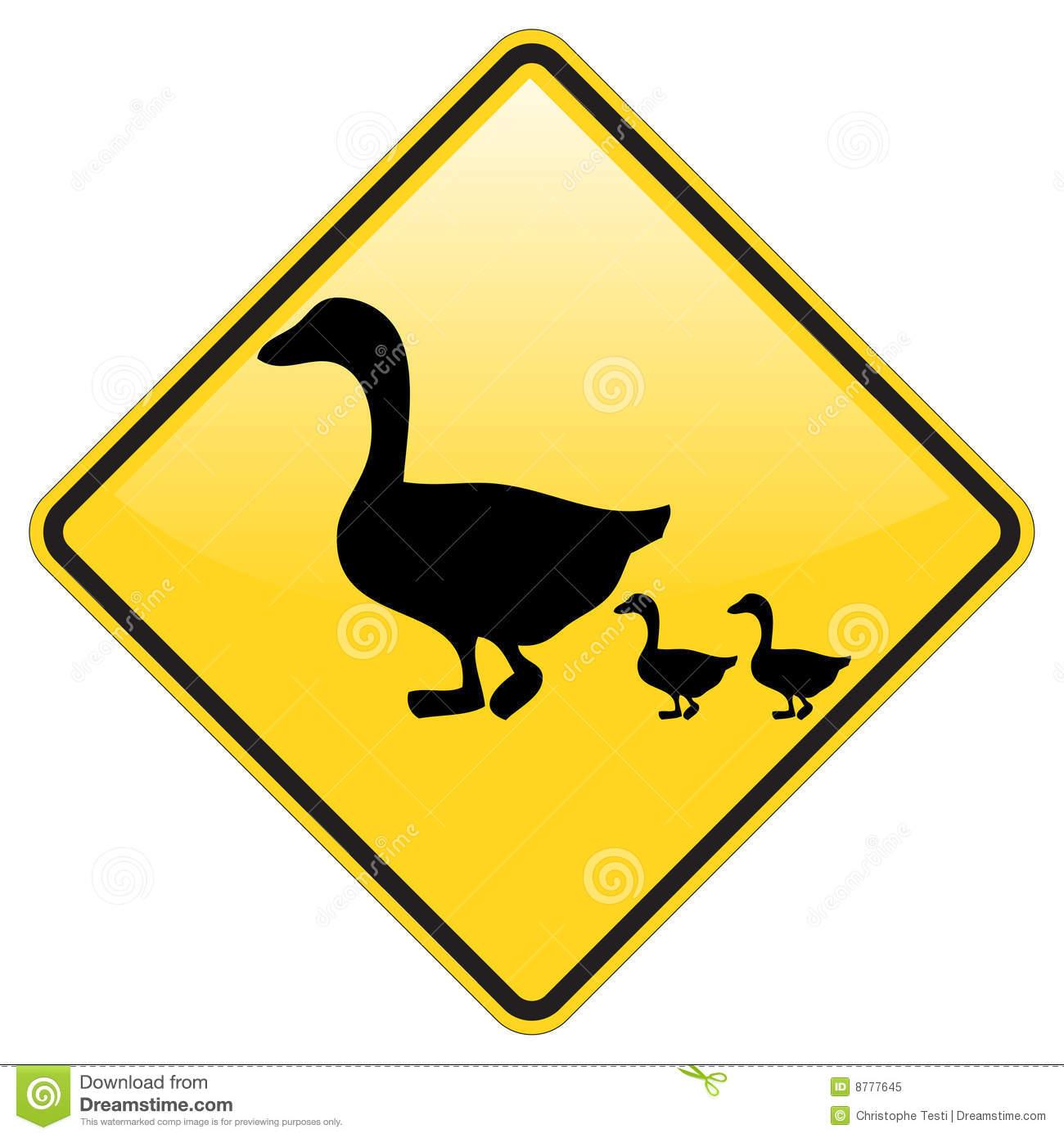 Ducks Crossing Warning Royalty Free Stock Photo.
