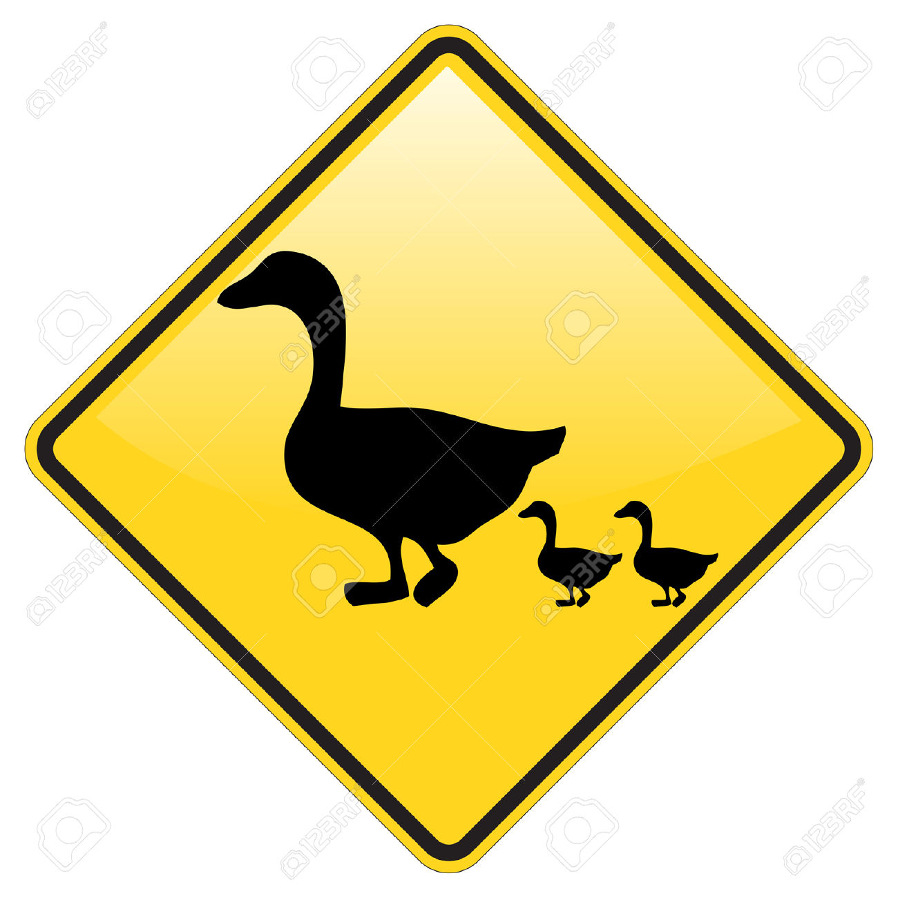 Duck Crossing Warning Sign With Glossy Effect Royalty Free.
