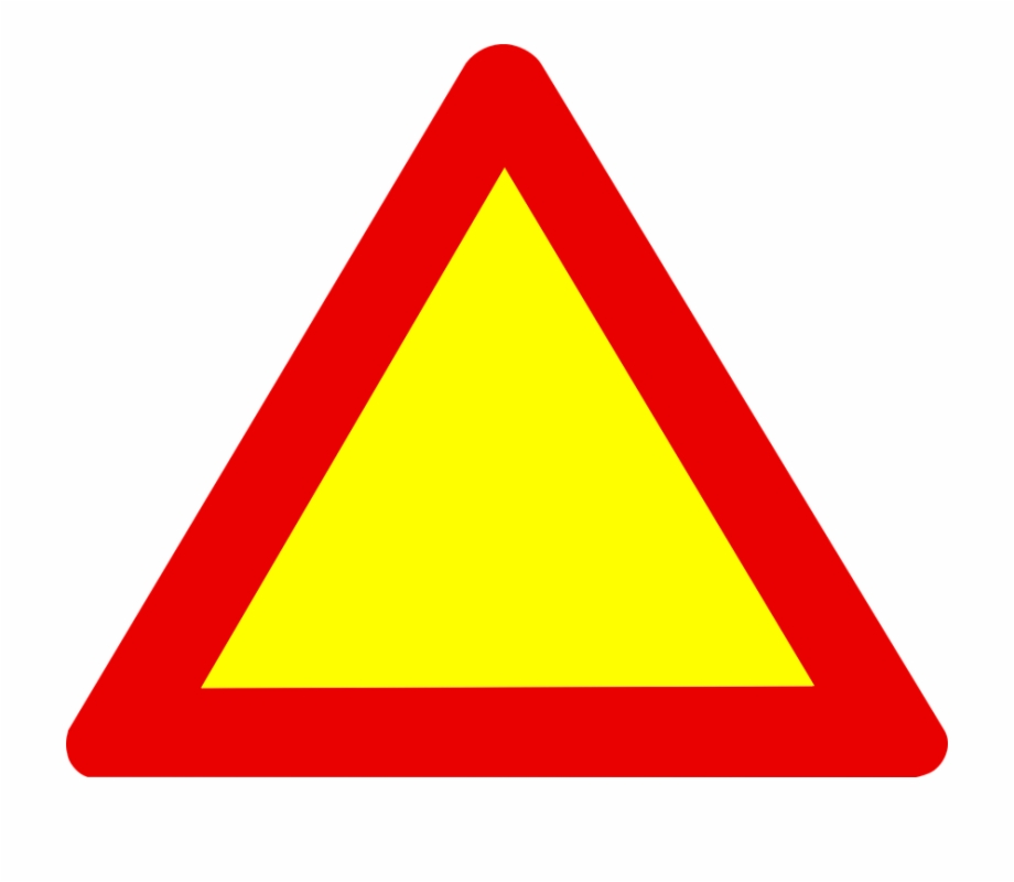 Sign Triangle Road Warning Symbol Yellow Red.
