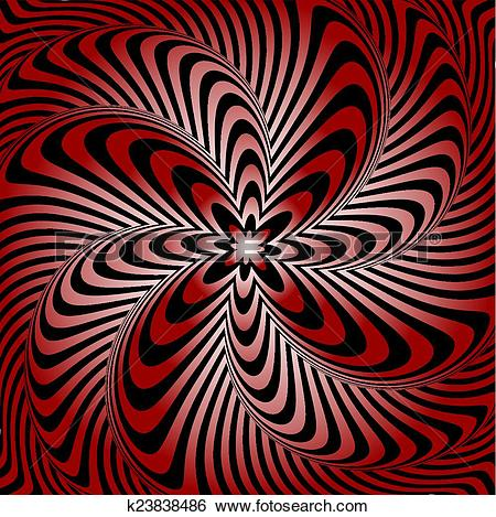 Clip Art of Design whirlpool movement illusion warped background.