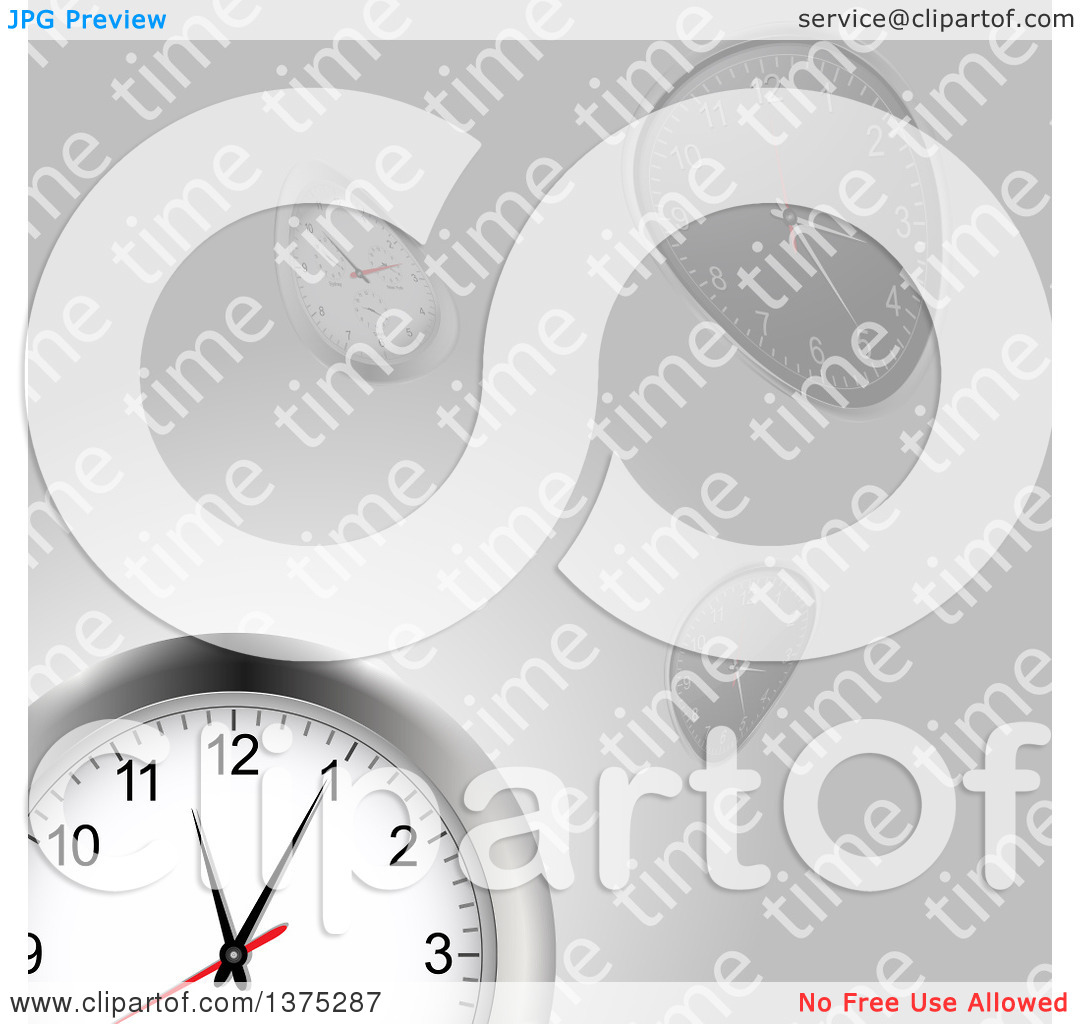 Clipart of a 3d Wall Clock over Warped Clocks and Time Text on.