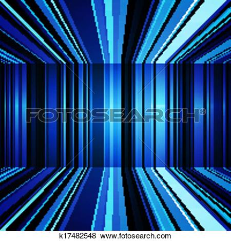 Clip Art of Abstract blue and white warped stripes background.