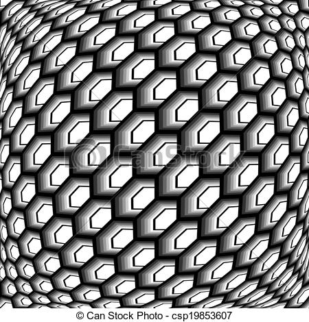 Vector Clipart of Design monochrome warped grid hexagon pattern.