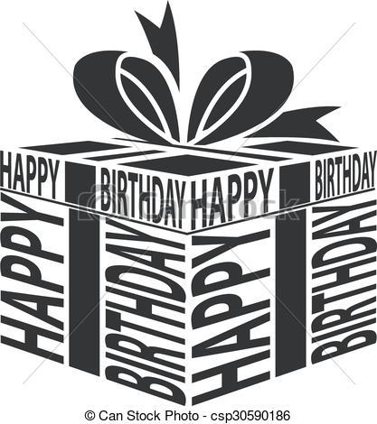 Vector of Gift Happy Birthday text warping.
