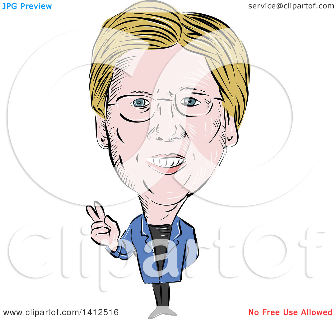 Clipart of a Sketched Caricature of Elizabeth Ann Warren, American.