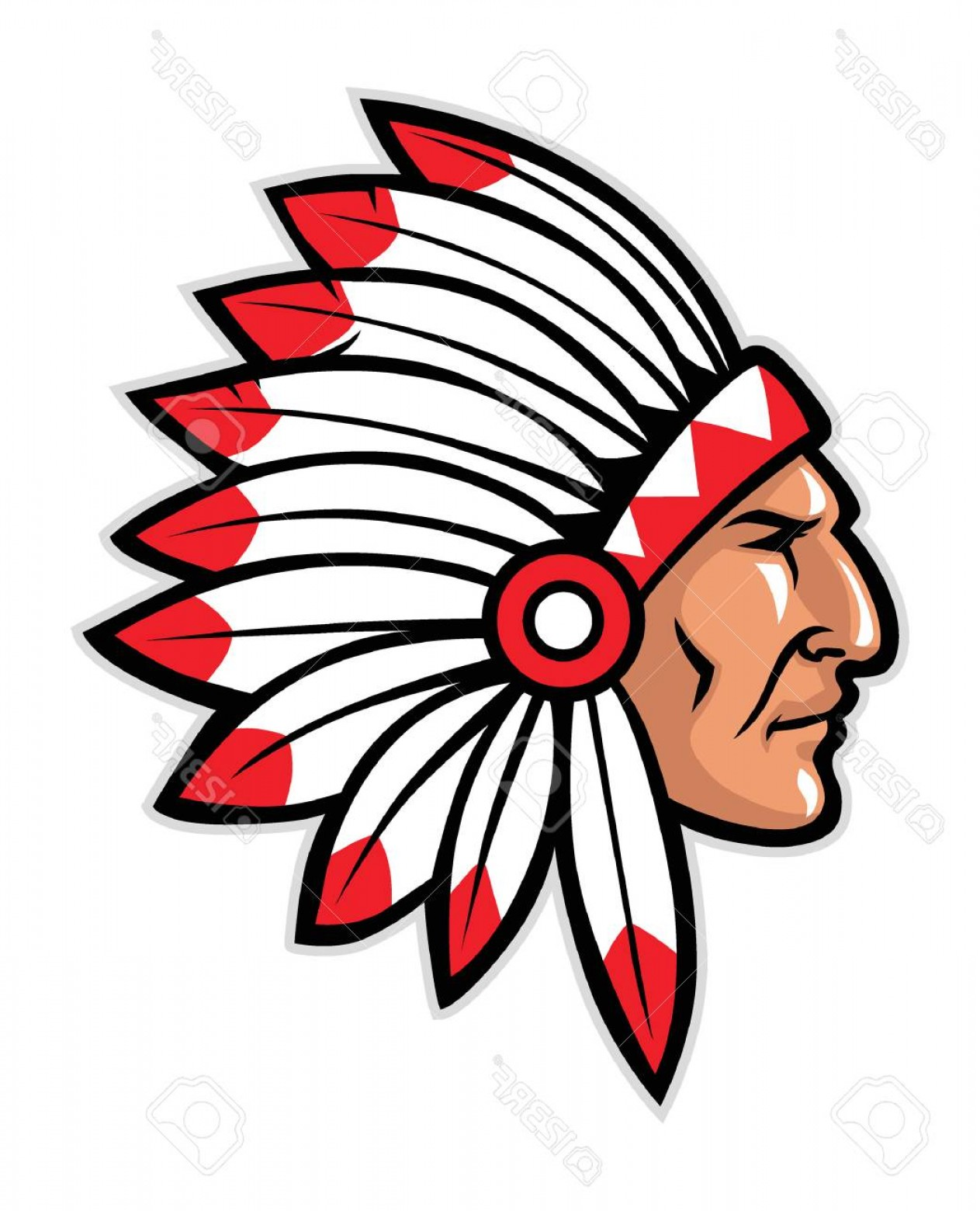 Photostock Vector Head Mascot Of Native American Warrior.