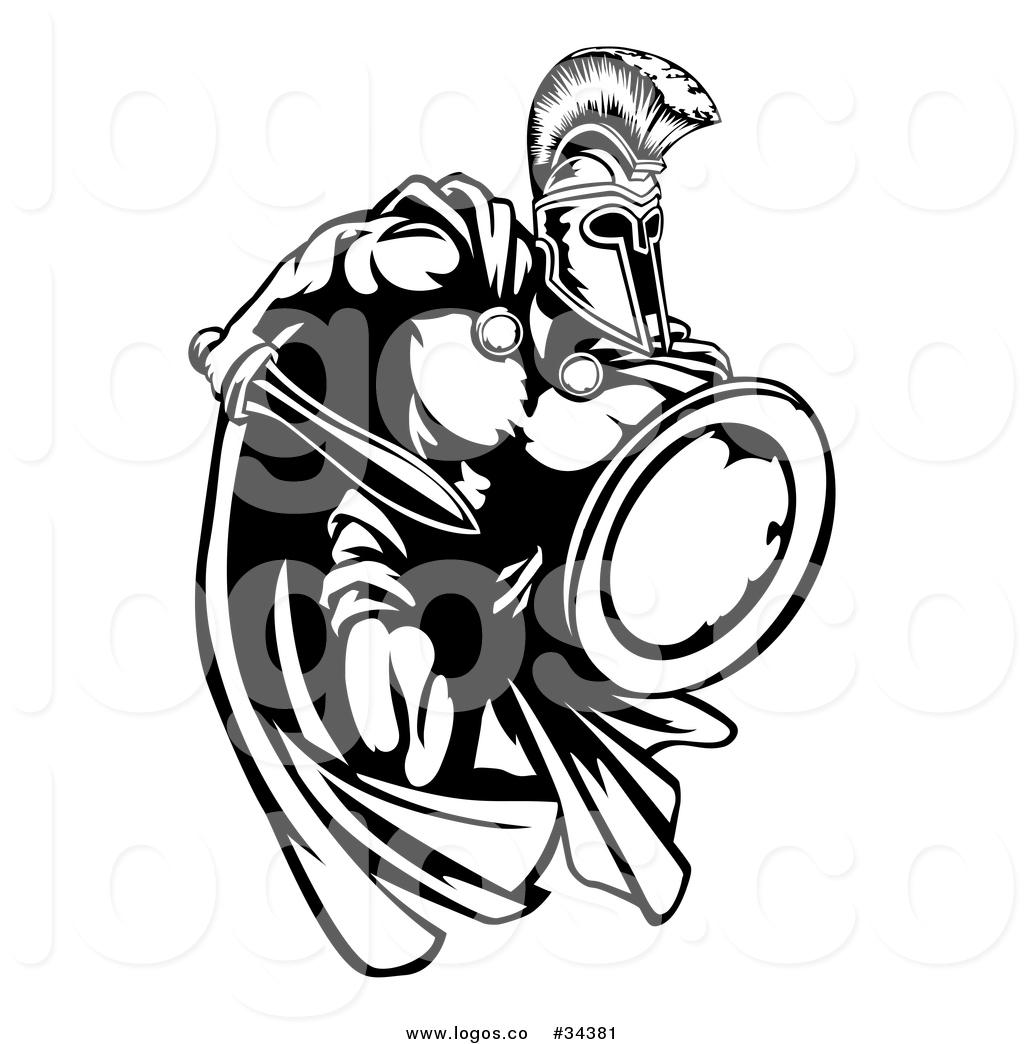 Vector Logo of a Combative Spartan Trojan Warrior Mascot.