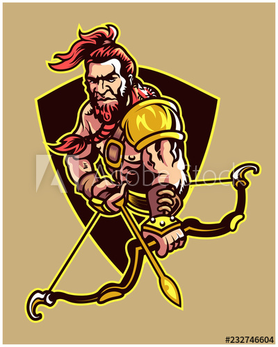 Ferocious Fantasy World Archer Warrior Cartoon Logo Mascot.