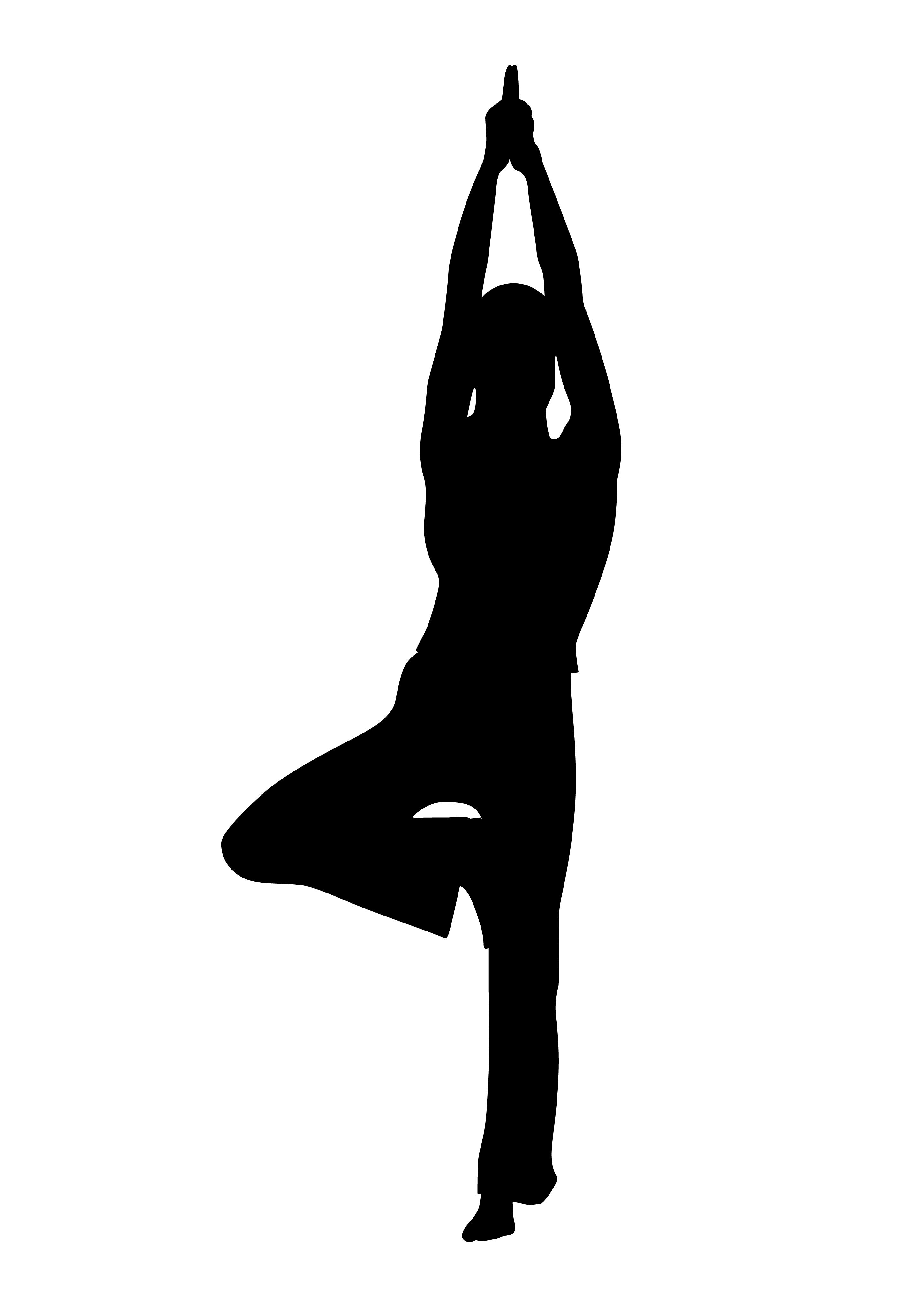 Yoga tree pose clipart.