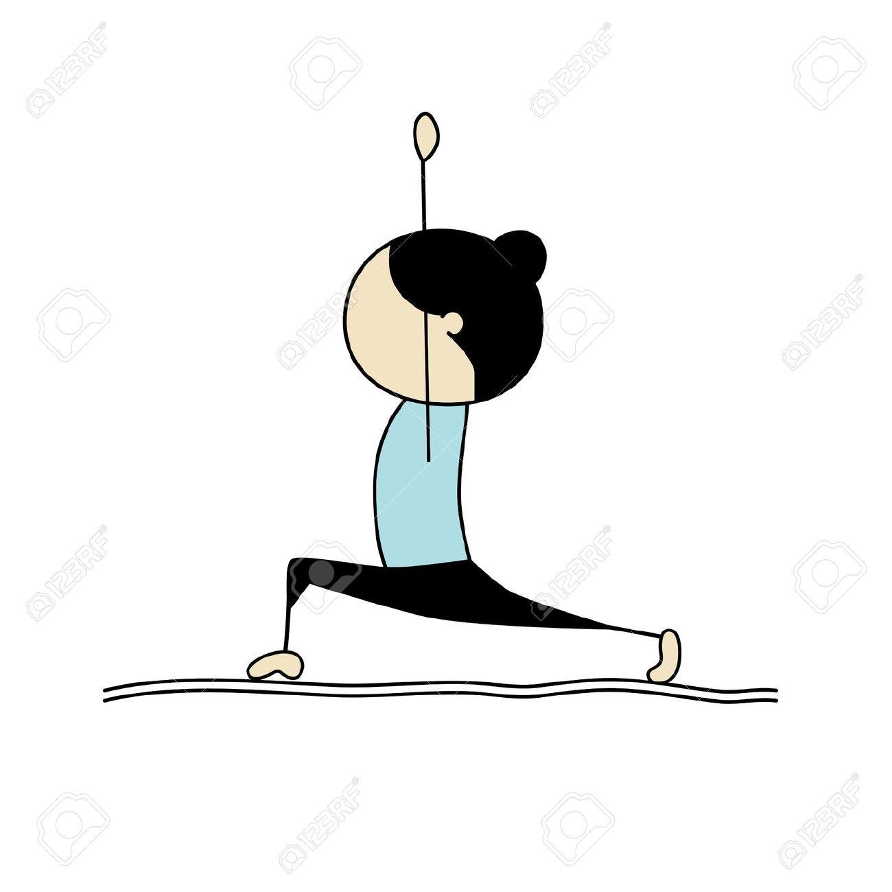 Woman Practicing Yoga, Warrior Pose Royalty Free Cliparts, Vectors.