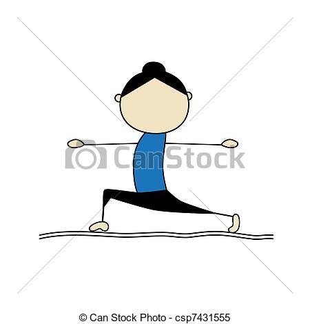 Clipart Vector of Woman practicing yoga, warrior pose csp7431555.