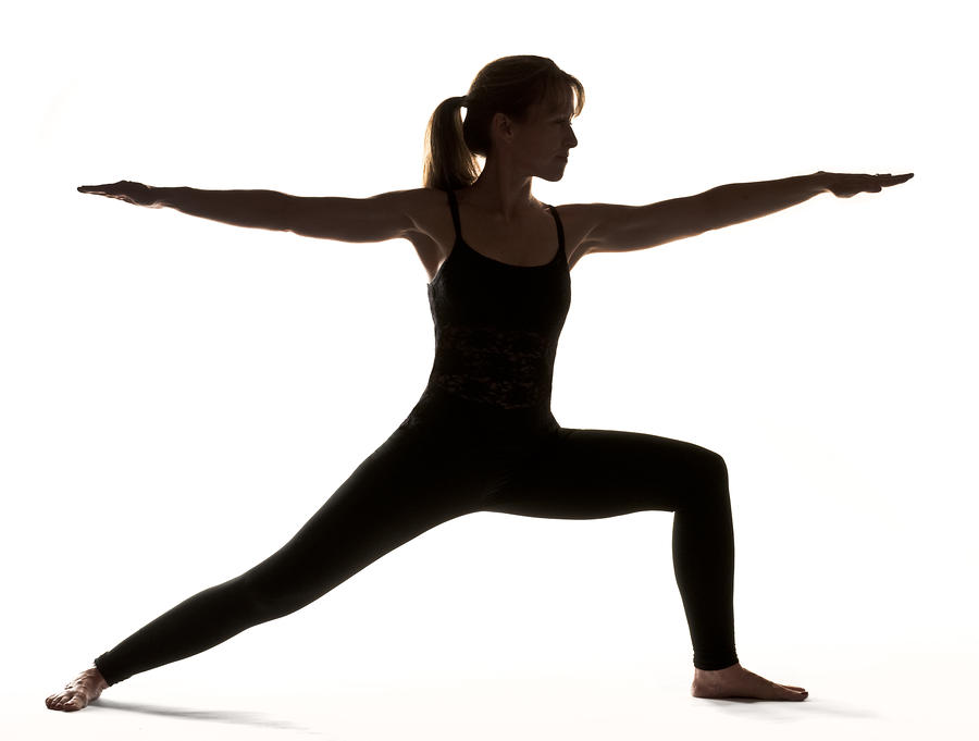 Warrior pose silhouette.